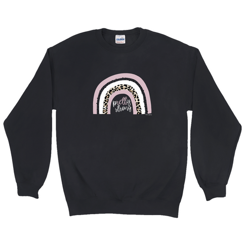 Rett syndrome Fundraiser pRETTy strong rainbow black/grey crew neck sweatshirt