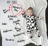 "CANADA VERSION-- Baby ""My Firsts"" Holiday Baby Milestone Blanket™"