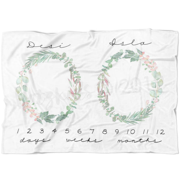 Girl Twin Watercolor Floral Wreath Milestone Blanket - FLEECE - Limited Edition