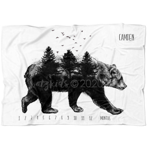 Forest Bear Milestone Blanket - FLEECE - Limited Edition