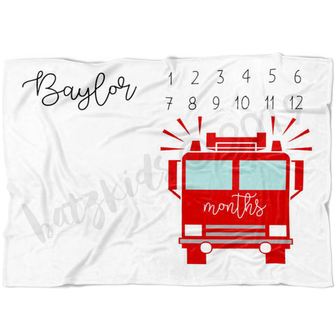 Firetruck Milestone Blanket - Limited Edition - FLEECE