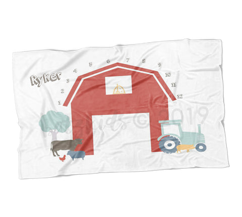 Farm Animals Milestone Blanket - FLEECE - Limited Edition