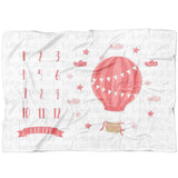 Girl Hot Air Balloon Milestone Blanket - FLEECE - Limited Edition