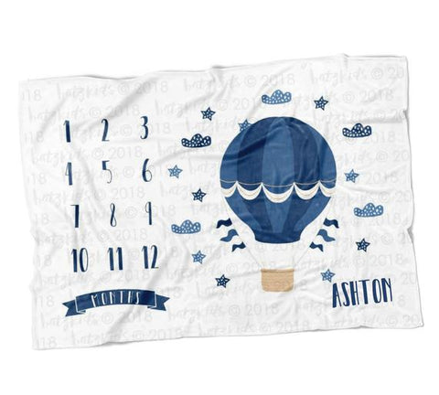 Hot Air Balloon Boy Milestone Blanket - Limited Edition - FLEECE
