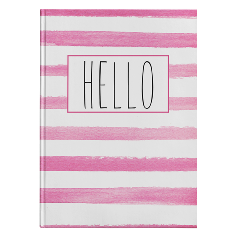 Pink Stripe Hello Journal