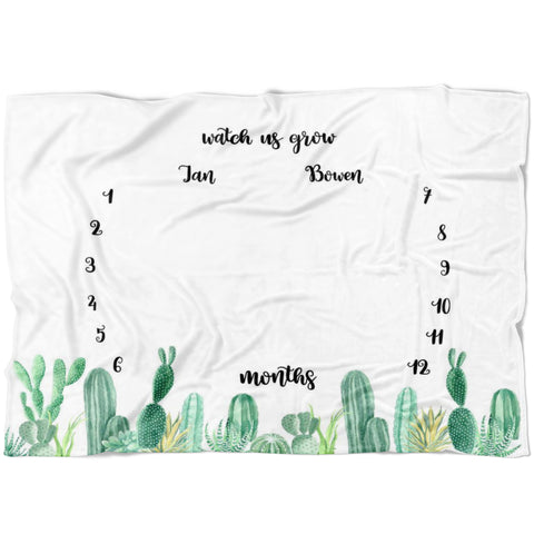 Cactus Twin Milestone Blanket - Limited Edition - FLEECE
