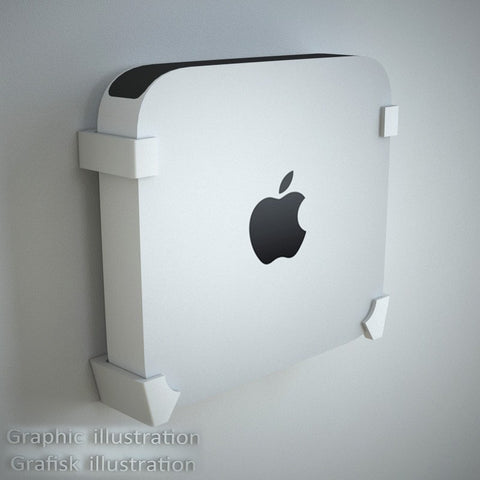 Danish Designed Wall Bracket for Apple Mini Mac. Mounts Your Mini Mac Perfectly on the Wall.
