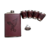 STAINLESS STEEL HIP FLASK WITH ENGRAVED EAGLE ON THE LEATHER GRIP