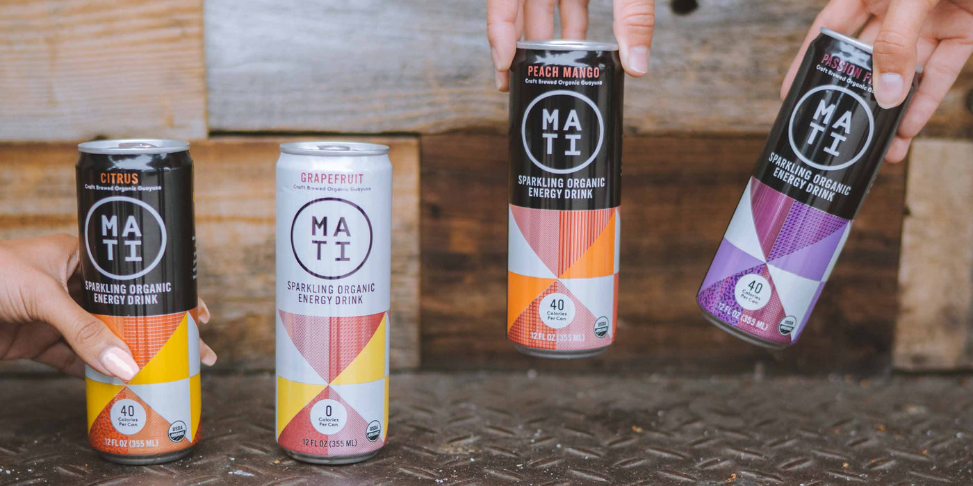MATI Energy Drinks; Citrus, Grapefruit, Peach Mango, Passion Fruit