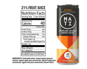 Citrus MATI Energy Drink Nutrition Panel