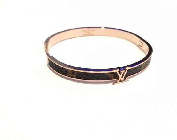 Louis Vuitton leather lady bangle bracelet gold tone