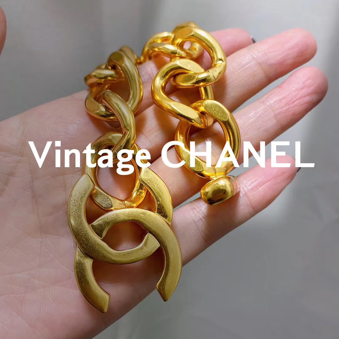 Chanel gold chain chunky bracelet