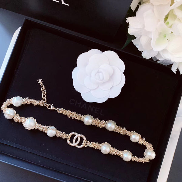 Chanel Pearl Chain Choker Necklace