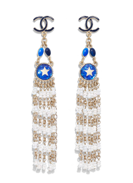 Chanel bohemian dangle beads earrings