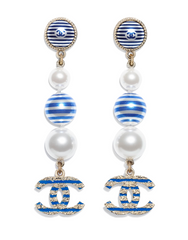 Chanel navy dangle earrings