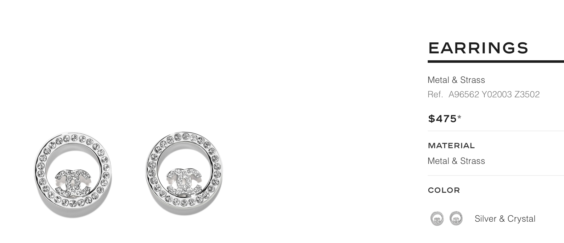 Chanel crystal button Earring Studs round