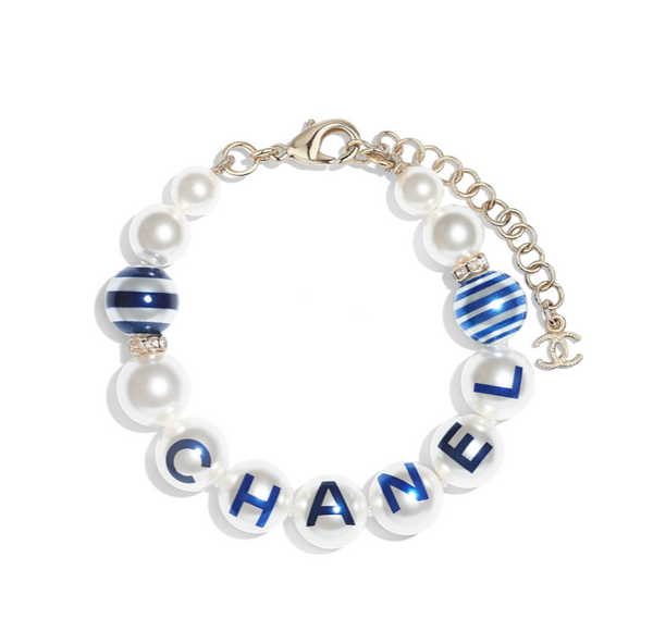 Chanel AB0777 Y47586 Z8893 navy resin beads bracelet
