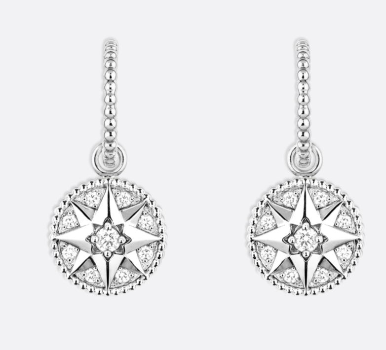 Christian Dior Crystal Rose Des Vents 18K WHITE GOLD AND DIAMONDS EARRINGS