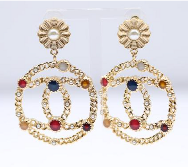 Chanel metal resin dangle earrings
