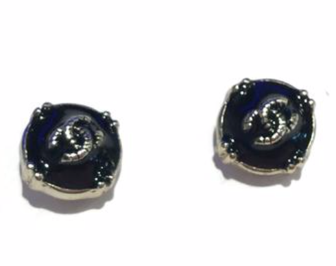 Chanel mini earring studs silver black round