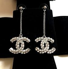Chanel Pave Crystal CC Drop Dangle Pierced Earrings