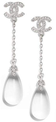 Chanel crystal drop dangle earrings