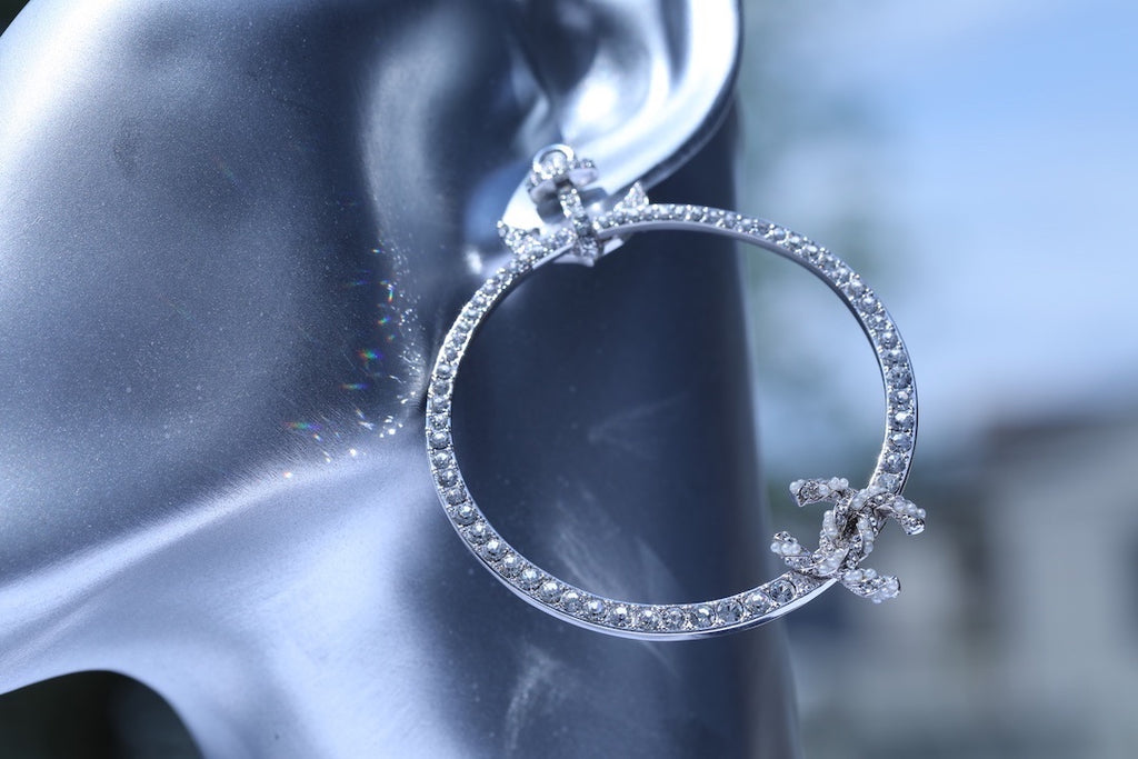 Chanel Large Anchor Crystal Silver Circle Hoop Earrings