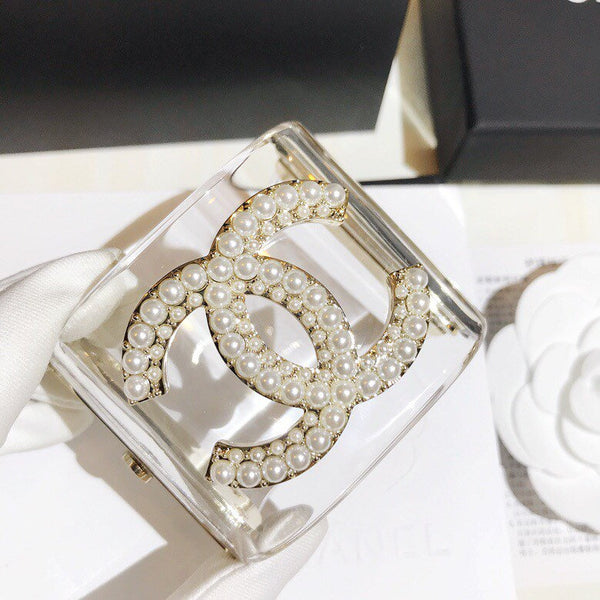 Chanel CC LOGO transparent pearl bangle cuff bracelet