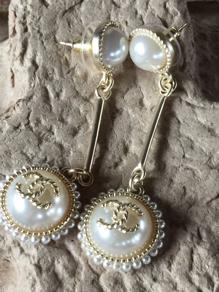 Chanel resin metal pearl dangle earrings