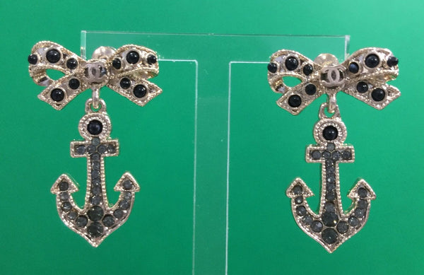 Chanel  Crystal Bowknot Anchor Earrings