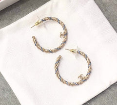Chanel Pierced Hoop Crystal Earrings