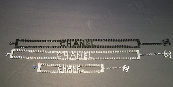 Chanel Letters Crystal Choker Necklace & Bracelet in Silver/ Black