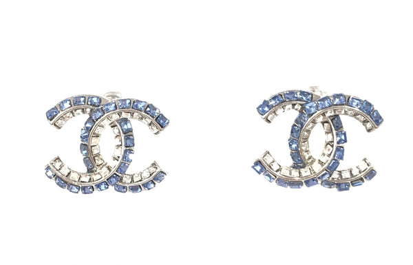 CHANEL Crystal EARRING STUDS blue CC logo
