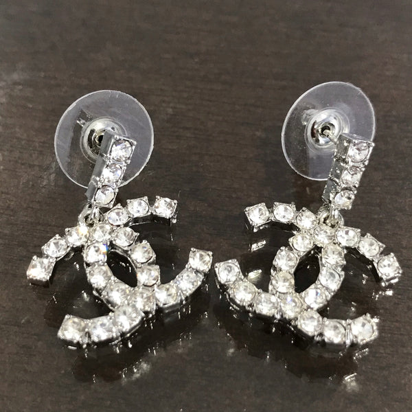 Chanel mini CC logo CRYSTAL SMALL DROP DANGLE EARRINGS