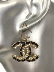 CHANEL GOLD CC Logo Hook Dangle Earrings
