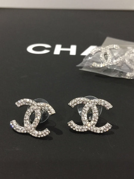 CHANEL CC logo STRASS EARRING STUDS