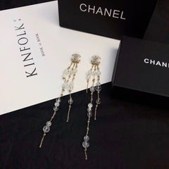 Chanel crystal beads dangle earrings