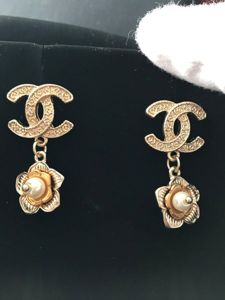 CHANEL CAMELLIA DROP EARRINGS