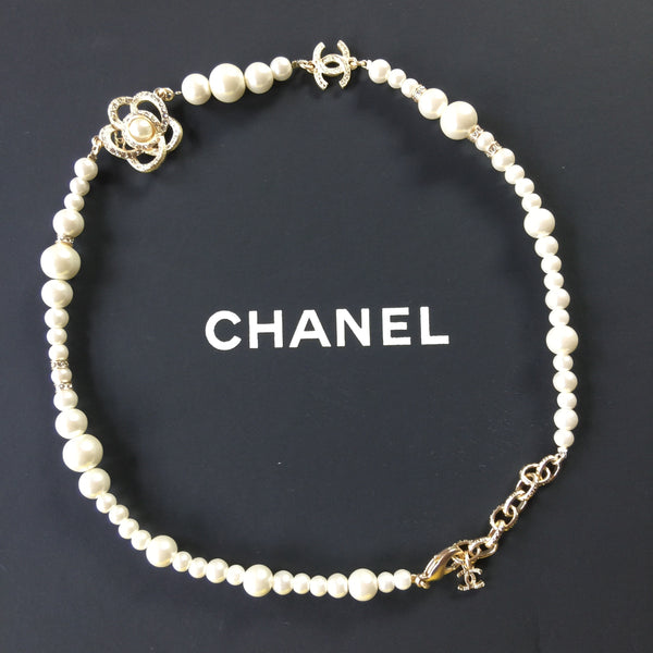 Chanel Camellia Pearl Choker Necklace