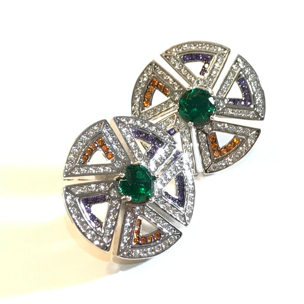 ZN BVLGARI multi color stone earring studs