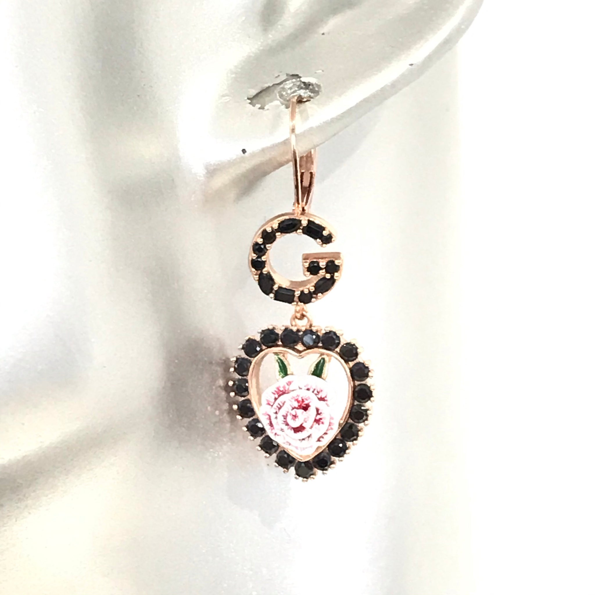 Dolce & Gabbana D&G ROSE HEART HOOK EARRINGS