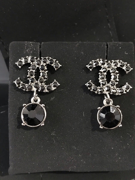 Chanel black mini CRYSTAL SMALL DROP DANGLE EARRINGS