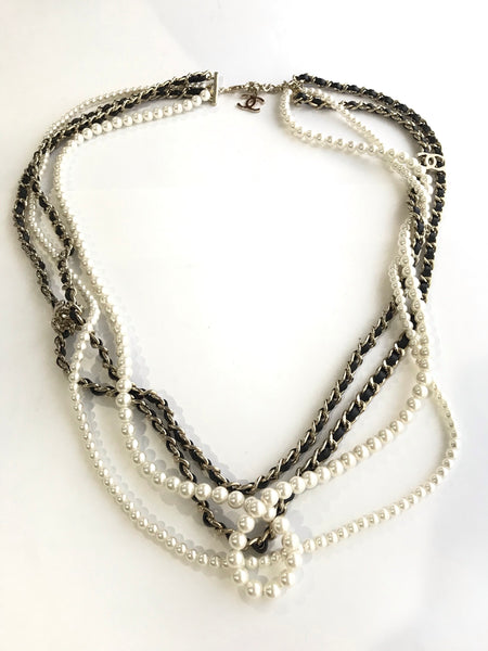 Chanel Chain Leather Layered Necklace