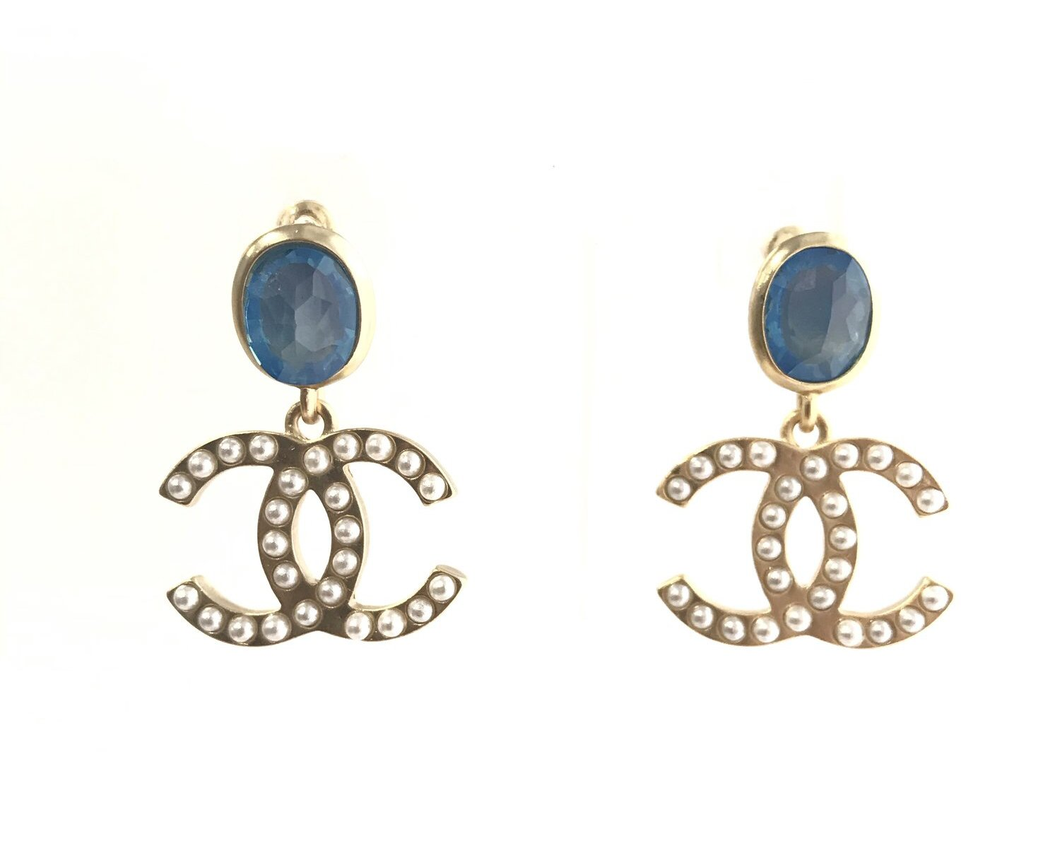 CHANEL CC LOGO EARRINGS BLUE STONE DANGLE