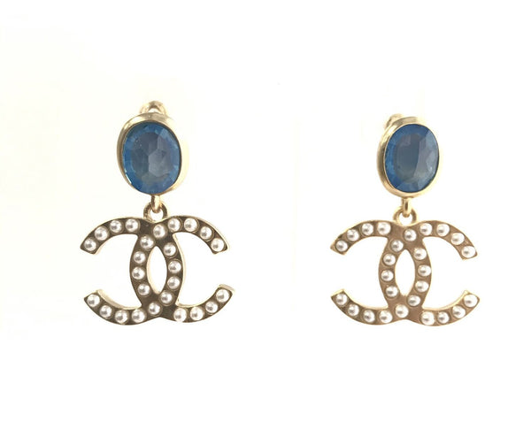 CHANEL CC Logo Dangle Earrings blue stone