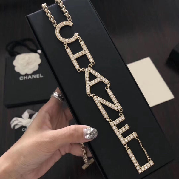 Chanel Crystal Letter Charm Necklace