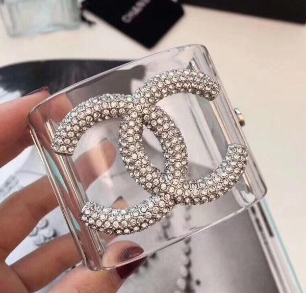 Chanel transparent diamonds cuff bangle bracelet