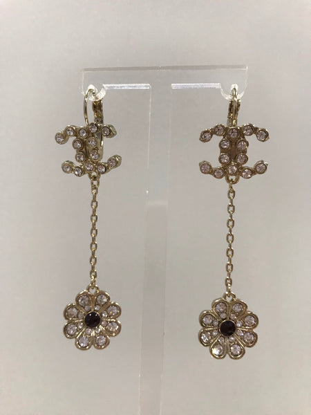 CHANEL CAMELLIA DANGLE DROP EARRINGS silver black