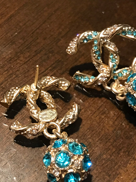 Chanel Crystal Drop Earrings blue