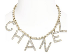 Chanel Crystal Letters Charm Necklace